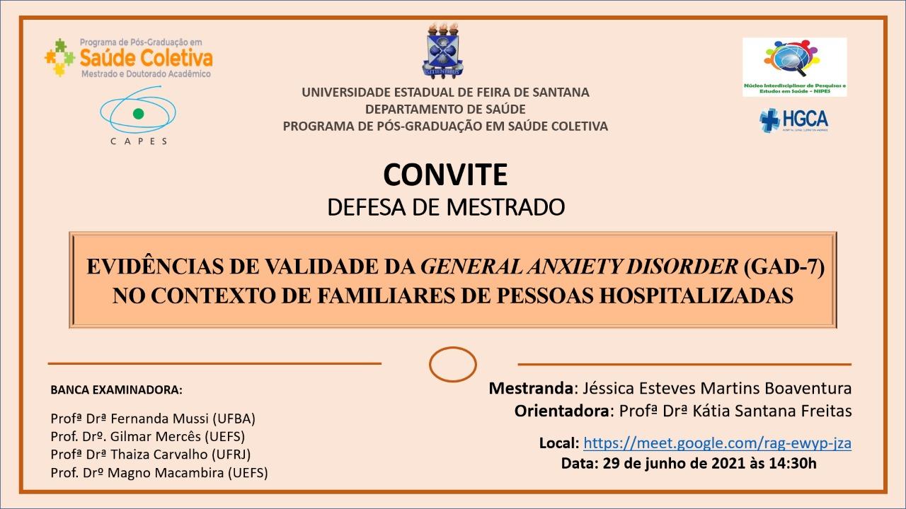 Defesa de mestrado: Evidências de validade da general anxiety disorder (GAD-7) no contexto de familiares de pessoas hospitalizadas